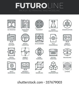 Modern thin line icons set of 3D printing, 3D modeling and scanning technology. Premium quality outline symbol collection. Simple mono linear pictogram pack. Stroke vector logo concept for web graphic