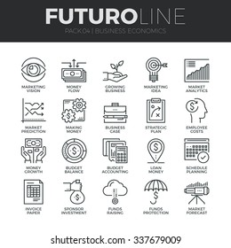 Modern thin line icons set of business economic development, financial growth. Premium quality outline symbol collection. Simple mono linear pictogram pack. Stroke vector logo concept for web graphics