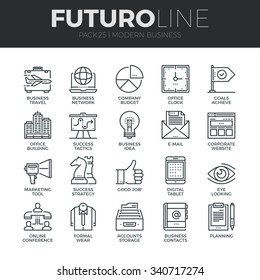 Modern thin line icons set of doing business using technology and communication. Premium quality outline symbol collection. Simple mono linear pictogram pack. Stroke vector logo concept, web graphics.