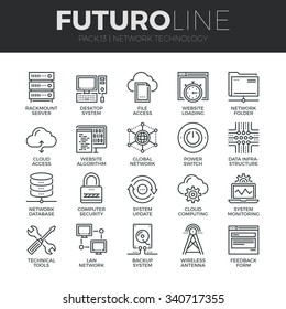 Modern thin line icons set of  cloud computing network, internet data technology. Premium quality outline symbol collection. Simple mono linear pictogram pack. Stroke vector logo concept, web graphics