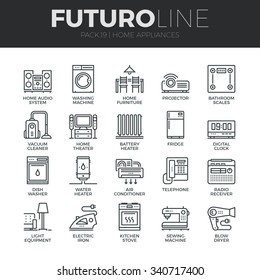Modern thin line icons set of home appliances, household consumer electronics. Premium quality outline symbol collection. Simple mono linear pictogram pack. Stroke vector logo concept for web graphics