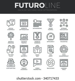 Modern thin line icons set of search engine optimization tools for growth traffic. Premium quality outline symbol collection. Simple mono linear pictogram pack. Stroke vector logo concept, web graphic