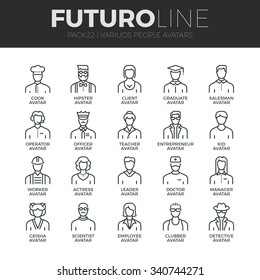 Modern thin line icons set of people avatars, various human characters staff. Premium quality outline symbol collection. Simple mono linear pictogram pack. Stroke vector logo concept for web graphics.
