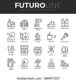 Modern thin line icons set of  outdoor recreation activity and hiking tourism. Premium quality outline symbol collection. Simple mono linear pictogram pack. Stroke vector logo concept for web graphics