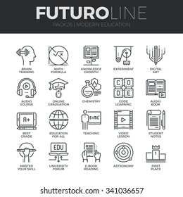 Modern thin line icons set of online education class and internet course study. Premium quality outline symbol collection. Simple mono linear pictogram pack. Stroke vector logo concept for web graphic