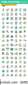 Modern thin line icons set of business management, finance, savings, internet payment security, funding and payment, accounting, human brain process and opportunities, strategy and planning.