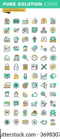 Modern thin line icons set of basic business essential tools, office equipment, internet marketing, contact information, communication. Outline icon collection for website and app design.