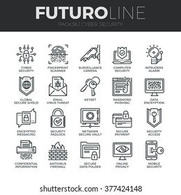 Modern thin line icons set of cyber security, computer network protection. Premium quality outline symbol collection. Simple mono linear pictogram pack. Stroke vector logo concept for web graphics.