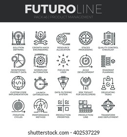 Modern thin line icons set of production management, project quality control. Premium quality outline symbol collection. Simple mono linear pictogram pack. Stroke vector logo concept for web graphics.