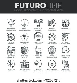 Modern thin line icons set of task productivity, get things done, concentration. Premium quality outline symbol collection Simple mono linear pictogram pack Stroke vector logo concept for web graphics