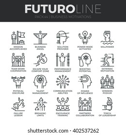 Modern thin line icons set of business discipline, performance and leadership. Premium quality outline symbol collection. Simple mono linear pictogram pack. Stroke vector logo concept for web graphics
