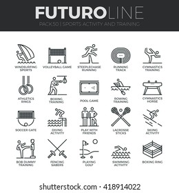 Modern thin line icons set of outdoor sports training, various athletic activity Premium quality outline symbol collection Simple mono linear pictogram pack Stroke vector logo concept for web graphics