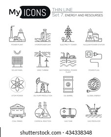 Modern thin line icons set of energy produsing industry and resources. Premium quality outline symbol collection. Simple mono linear pictogram pack. Stroke vector logo concept for web graphics.