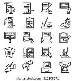 Modern thin line icons set of legal documents and business workflow. Outline symbols. Simple mono linear pictogram pack. Contract, diploma,  license