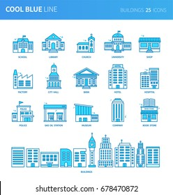 Modern thin line icons set of buildings. Premium quality outline symbol set. Simple linear pictogram pack. Editable line series
