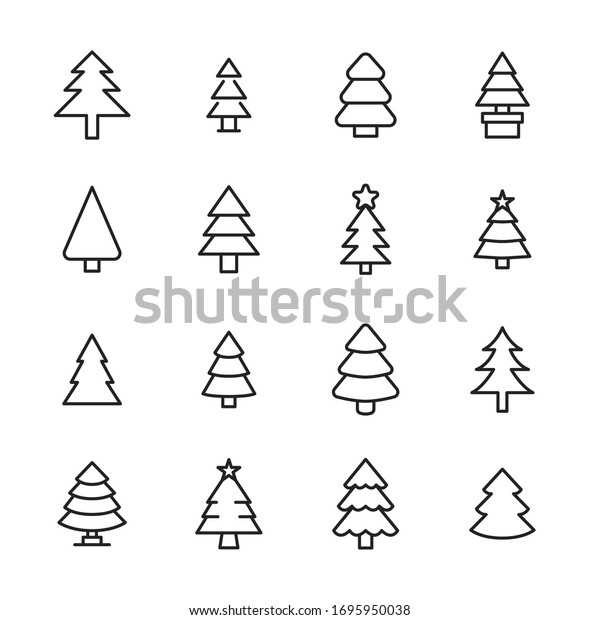 Modern thin line icons set of christmas tree. Premium quality symbols. Simple pictograms for web sites and mobile app. Vector line icons isolated on a white background.