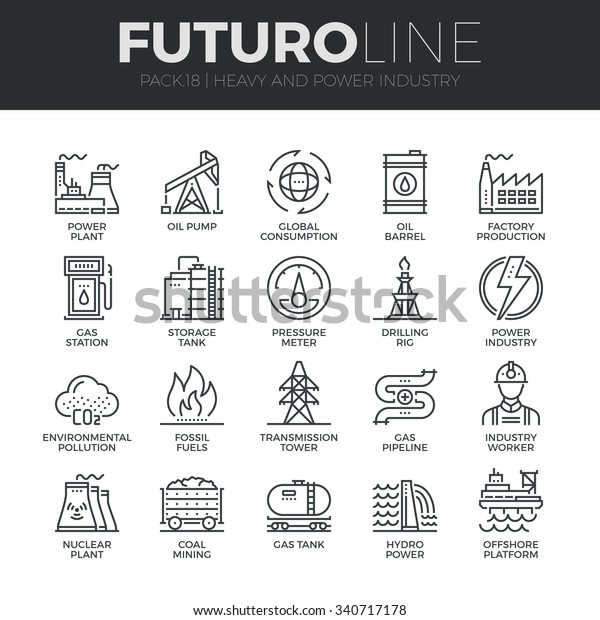 Modern thin line icons set of heavy industry, power plant, mining resources. Premium quality outline symbol collection. Simple mono linear pictogram pack. Stroke vector logo concept for web graphics.