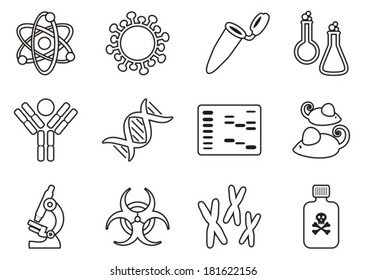 Modern thin line molecular biology science icon collection