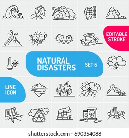 Modern thin line Natural disaster icons set. Premium quality outline symbol collection. Simple mono linear pictogram pack. Stroke vector logo concept, web graphics