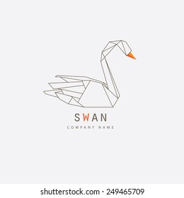 modern thin line swan logo element design for business visual identity- trendy line art vector illustration with orange details