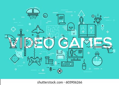 Modern thin line template of classic game objects, mobile gaming elements. Vector illustration concept of word video games for website and mobile apps banners, easy to edit, customize and resize.