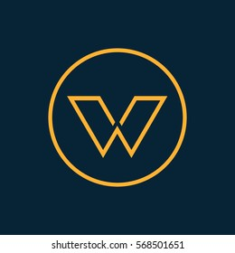 Modern thin lines letter W logo.