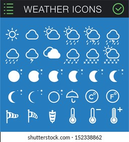 Modern Thin Weather Icons Set - 30 icons