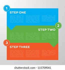 Modern, three step graph for business presentation or tutorial work.