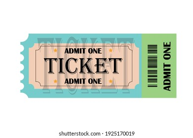 Modern ticket design. Realistic ticket on the theatre, carnival, show, cinema, movie, concert event. Admit one
