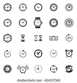 Modern time Icon Collection. Watch Icon Set. Time Vector Symbols