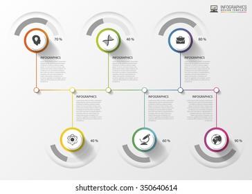 Modern Timeline Infographics. Colorful design template. Vector illustration.