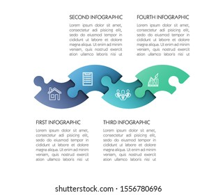 Modern timeline made 4 puzzle pieces colorful connected. Concept jigsaw strategic plan four stage. Realistic puzzle infographic design template. Vector illustration business progress puzzle 4 analysis