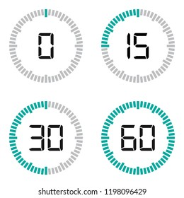 Modern timer illustration with digital numbers isolated on white.