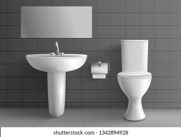 Modern toilet room interior 3d realistic vector mockup. White ceramic toilet bowl with water tank, paper on metal roll holder, sink with faucet and horizontal mirror on grey tilled wall illustration