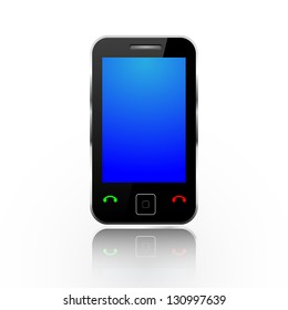 Modern touch screen phone isolated on white.