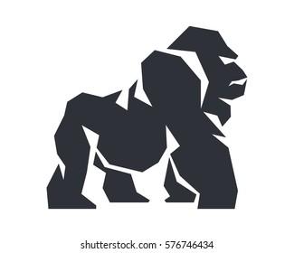 Modern Tough Big Gorilla Rock Mountain Silhouette Logo