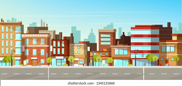 Modern town street panoramic flat vector. Low-rise houses with brick walls, blank signboards on storefronts, public buildings, sidewalk and road illustration. City commercial real estate background