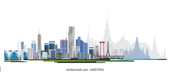 Modern town. Urban city scape. Bangkok. Thailand.