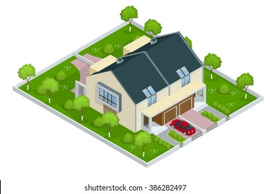 Modern townhouse flat 3d isometric vector illustration.