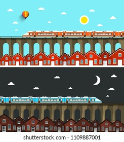Modern Train on Bridge above City with Houses. Night and Day Landscape Vector Illustration.