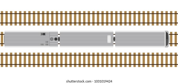 Modern train on rails isolated on white background. Railway station with wagons from above. Top view. Simple realistic style. Cartoon flat style vector illustration.
