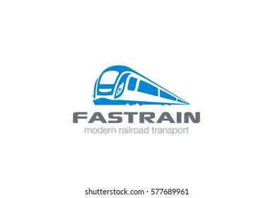 Modern Train silhouette Logo design vector template. Monorail subway futuristic metro railway transport Logotype icon.