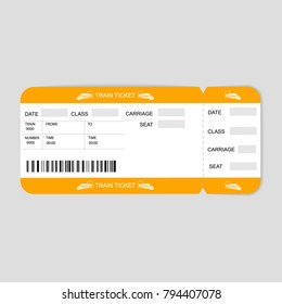 Modern Train  ticket, Travel by Railway.  Isolated object on white. Vector illustration