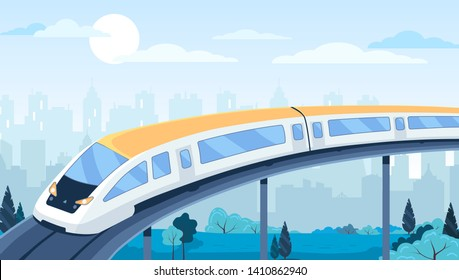 Modern train transport highway in the city. Flat vector ilustration