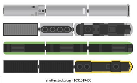 Modern trains set isolated on white background. Railway station with wagons from above. Top view. Simple realistic style. Cartoon flat style vector illustration.