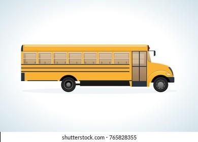 Modern transport machine, side view. Children on school bus. Transport, automobile. Riding on yellow schoolbus transportation education. Education, learning, teaching, knowledge Vector illustration