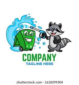 Modern Trash can with raccoon logo. Vector illustration.