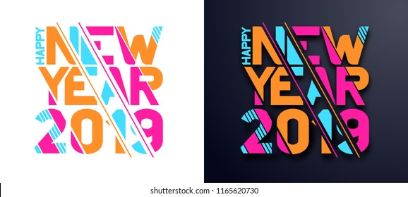 Modern trend in the graph. vector illustration.  New Year 2019. Colorful dynamic hipster graphics. Frame for the design of booklets, posters, cards