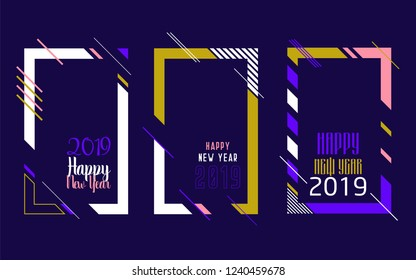 Modern trend in the graph. vector illustration. New Year 2019. Colorful dynamic hipster graphics