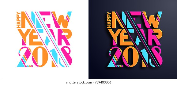 Modern trend in the graph. vector illustration. with Christmas and a New Year 2018. Colorful dynamic hipster graphics. Frame for the design of booklets, posters, cards